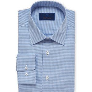 David Donahue Men's Blue Long Sleeve Dress Shirt
